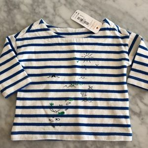 NWT BOATNECK STRIPED NAUTICAL TOP SIZE 0-3 MONTHS
